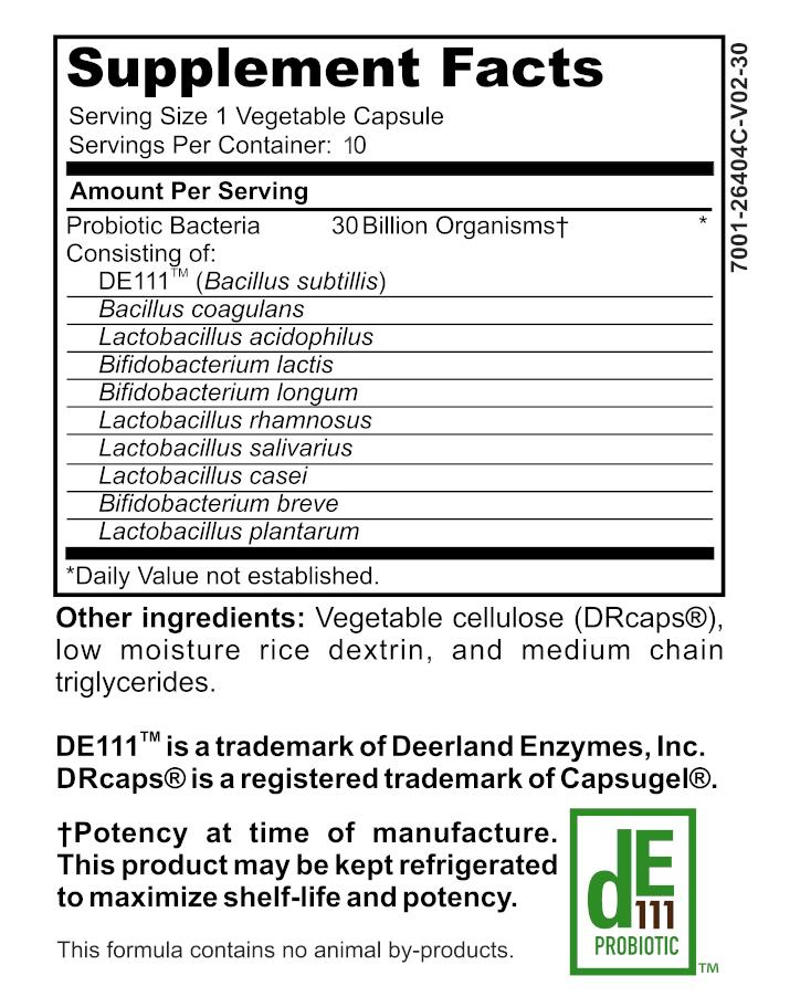 probiotic 30 - 10 count supplement label