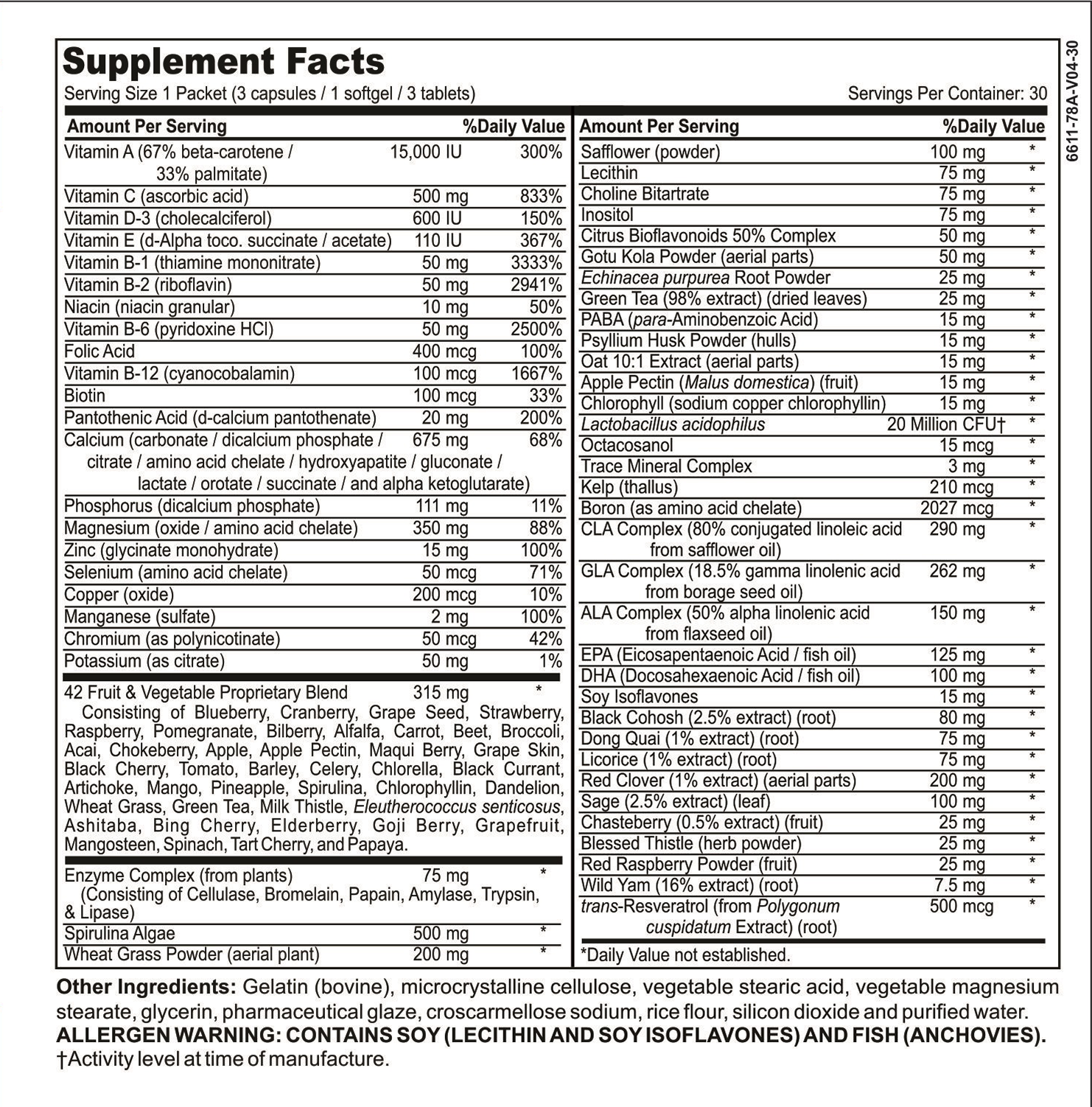 kapsulations women's daily pack supplement label